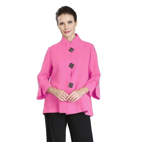 IC Collection Accordian-Back Bell Sleeve Jacket in Pink/Black - 2142J-PK