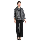 IC Collection  Mixed Stripe High-Low Jacket in Black/Silver ♥ 2148J-SLV