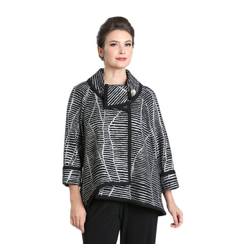 IC Collection Mixed Stripe Jacket with Foldover Collar in Silver/Black - 2148J-SLV