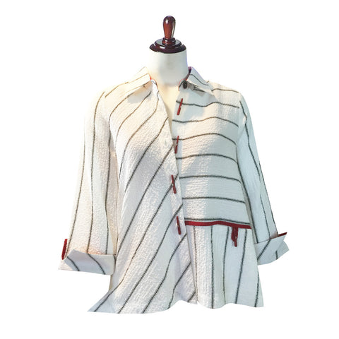 Moonlight Stripe Blouse / Jacket in White 2185A-WHT