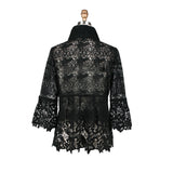 Damee Lace Cutout Bell Sleeve Jacket in Black - 2254-BLK - Size L Only