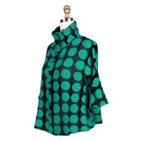 Damee Polka Dot Jacquard Mesh Jacket in Turquoise - 2257-TQ - Size S Only