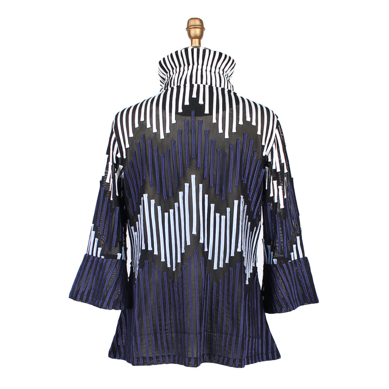 Damee Striped Soutache Jacket in Blue -2265-BLU - Size M Only
