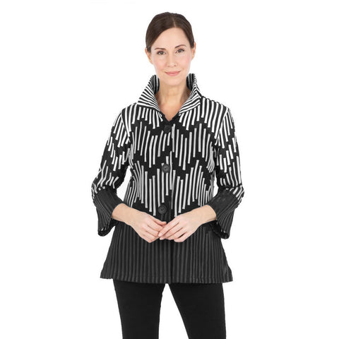Damee Stripe-Soutache Jacket - Grey - 2265-GRY - Size L Only