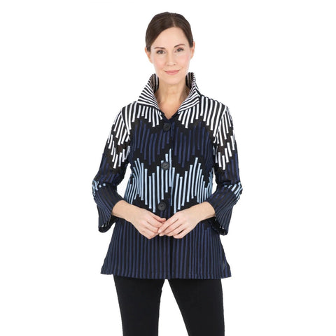 Damee Striped Soutache Jacket - Blue -2265-BLU