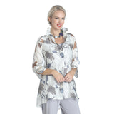 IC Collection Hi-Low Burnout Blouse - 2277J-WHT
