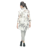 IC Collection Sheer Hi-Low Burnout Blouse - 2277J-WHT
