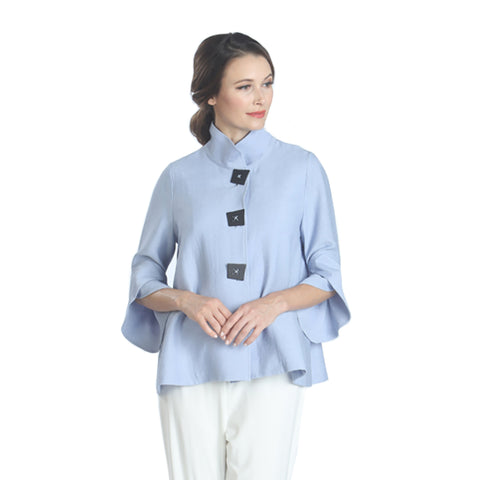 IC Collection Ribbed Button Front Jacket w/ Trumpet Sleeves in Blue - 3065J-BLU