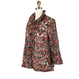 Damee Sheer Mesh Jacket w/ Floral Paisley Embroidery in Multi/Brown - 2301-MULT