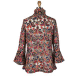 Damee Sheer Mesh Jacket w/ Floral Paisley Embroidery in Multi/Brown - 2301-BRN/MULTI
