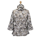 "Damee Embroidered ""Sheer Elegance"" Floral Paisley Mesh Jacket in Multi-Gray - 2301-GRY"