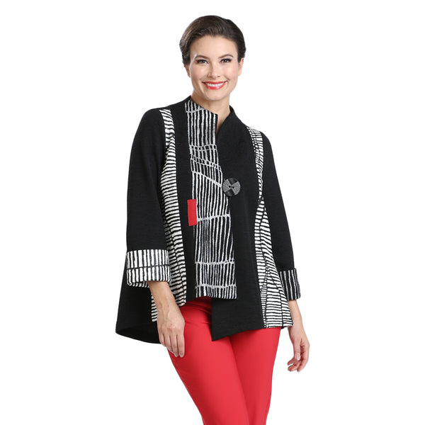 IC Collection Mixed-Stripe Asymmetric Jacket - 2301J-BLK - Size S Only