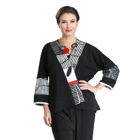 Mixed Print High-Low Jacket in Black/White/Red - 2309J-BLK