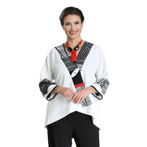 Just In! Mixed Media High-Low Jacket in White/Black/Red - 2309J-WHT