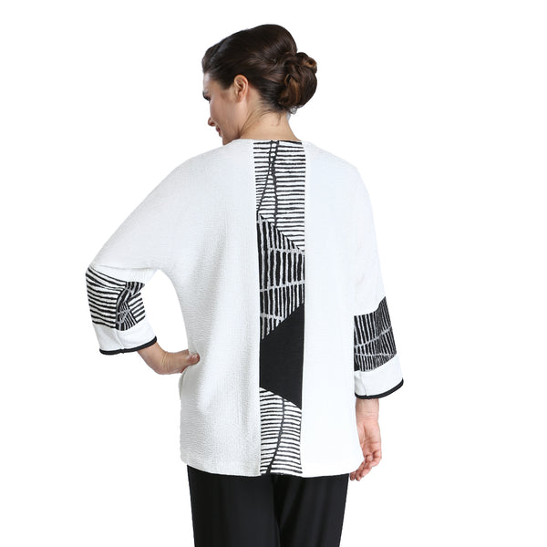 IC Collection Stripe-Trim High-Low Jacket in White/Black/Red - 2309J-WHT