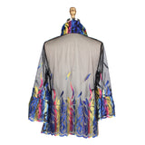 Damee Sheer Mesh Jacket w/Vibrant Leaf Embroidery  - 2312