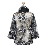 Damee Sheer Mesh Jacket w/Floral Ribbon Embroidery - Black/White -  2313 - Size M Only