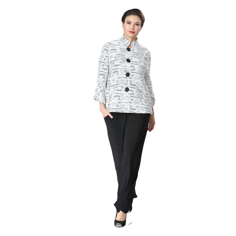 IC Collection Striped Rib-Knit Button Front Jacket in Black/White - 2314J-WHT