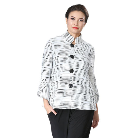 IC Collection Button Front Textured Jacket in Black & White - 2314J-WHT