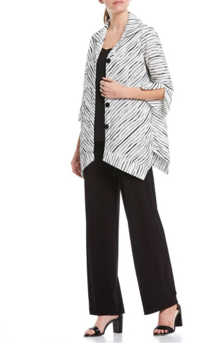 IC Collection Striped Rib-Knit Button Front Shirt/Jacket in Black/White - 2361J