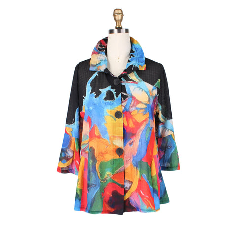 Damee NYC Watercolor Print Light Chiffon Jacket in Black/Multi - 2315-BLK