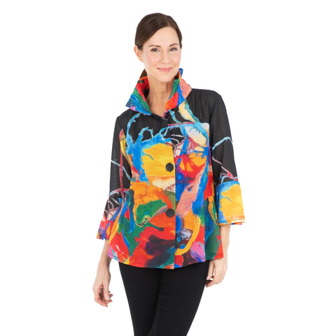 Damee NYC Watercolor Print Light Chiffon Jacket in Black/Multi - 2315-BLK - Size S, L & XL