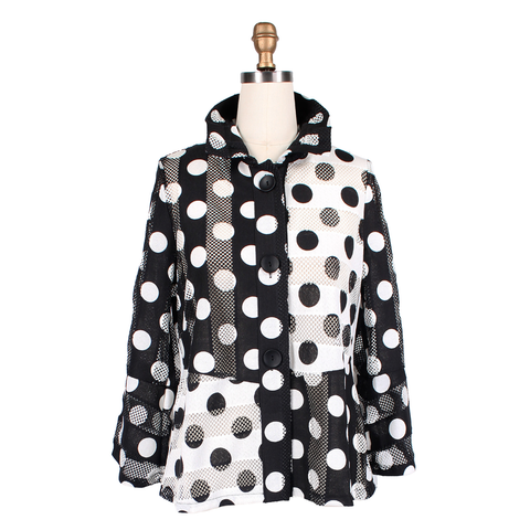 Damee NYC Polka Dot Mesh Jacket in Black & White - 2327-BW - Size S Only