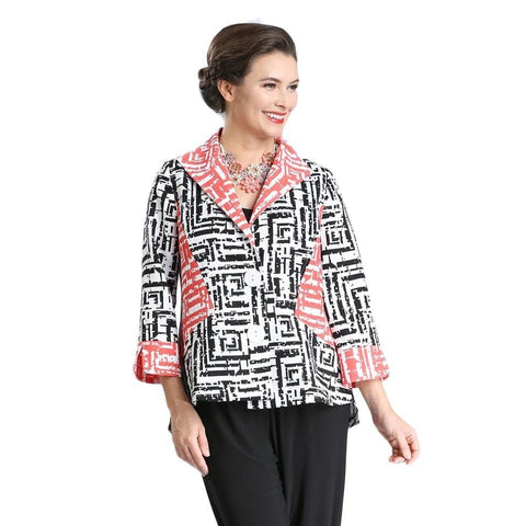 IC Collection Geometric Print High-Low Jacket - 2327J-WHT