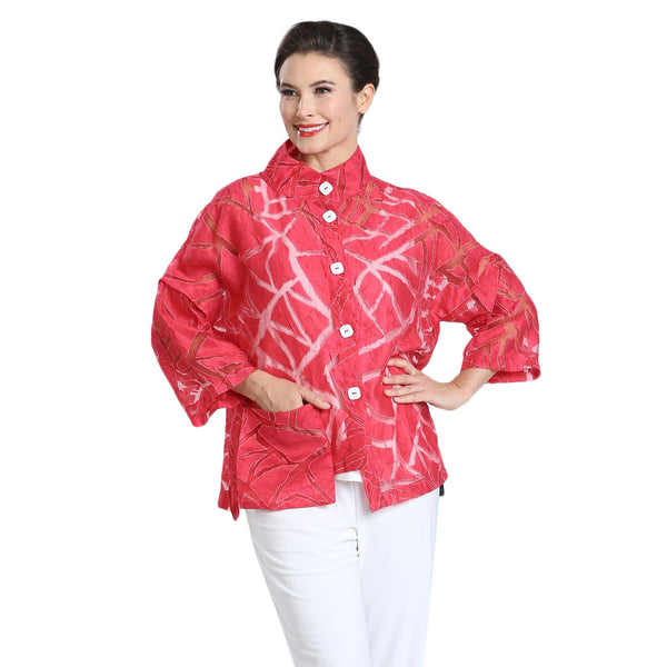 IC Collection Sheer Geometric Jacket in Red - 2329J-RED - Sizes S Through L