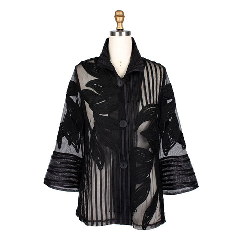 Just In! Damee Mixed Stripe & Leaves Soutache Jacket in Black ♥ 2334-BLK
