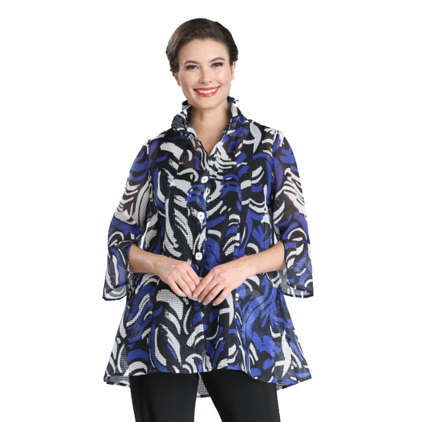 IC Collection Abstract Mesh Shirt/Jacket in Blue, White & Black - 2335J