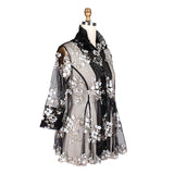 Damee Floral-Embroidery on Sheer Mesh Jacket in Black/Silver - 2337-SLV