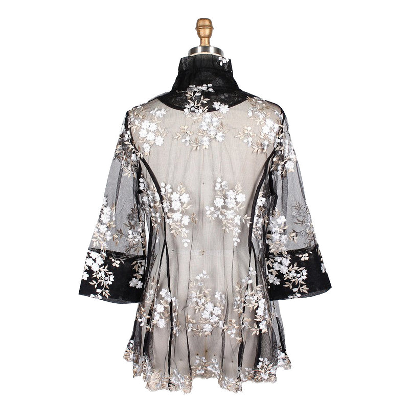 Damee Floral-Embroidered Mesh Jacket - 2337-SLV