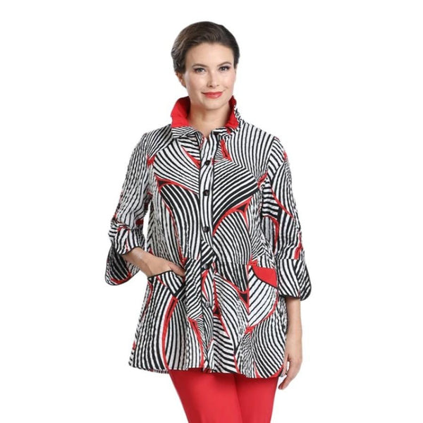 Mixed Stripe Button Front Shirt in Red/White & Black - 2342J