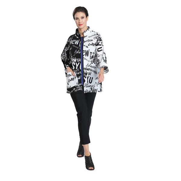 IC Collection Lightweight Abstract Word-Print Zip Front Jacket - 2358J