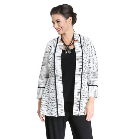IC Collection Textured-Stripe Fit & Flare Cardigan in Black/White - 2360J-WHT