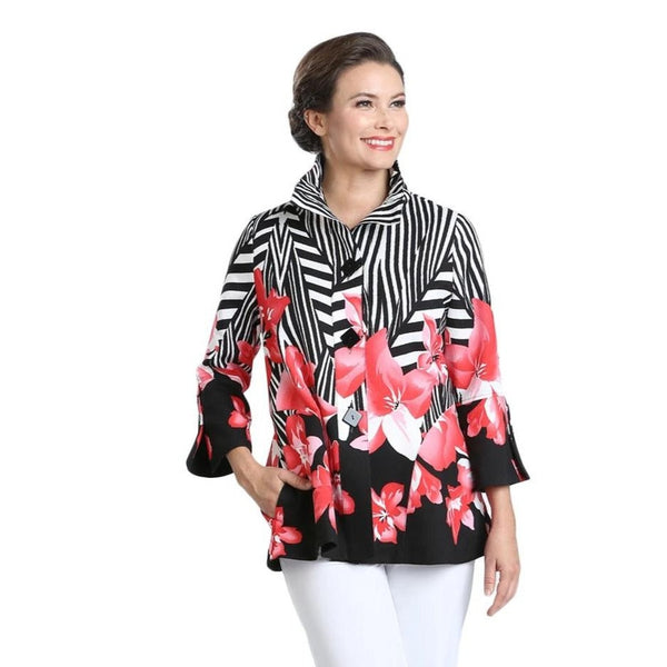 IC Collection  Floral-Stripe Jacket in Red/White/Black - 2368J-RED