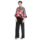 IC Collection Floral Stripe Asymmetric Jacket in Red - 2376J-RED