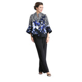 IC Collection Floral Stripe Asymmetric Jacket in Blue - 2376J-BLU