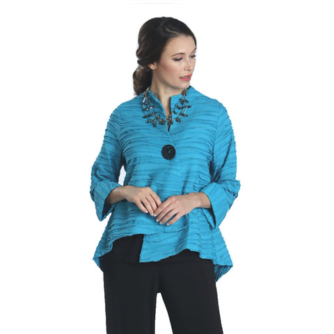 IC Collection High-Low Asymmetric Jacket in Turquoise - 2463J-TQ