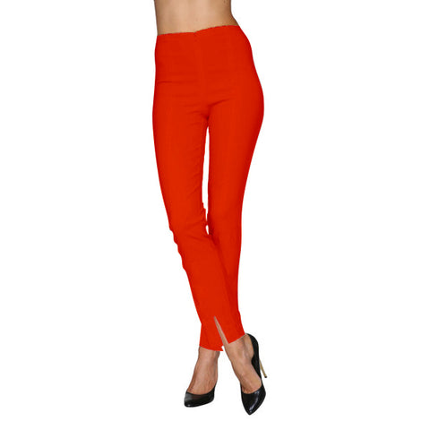 Mesmerize Pants with Front Ankle Slits and Front Zipper in Tomato - MA21-TOM
