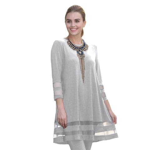IC Collection Tunic with Double Mesh Stripe in Silver - 2517T-SLV - Sizes S & XXL Only