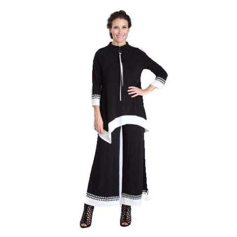 IC Collection Border Trim Palazzo Pants in Black & White - 3345P-BW