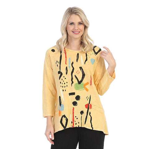 "Jess & Jane ""Surprise"" Abstract Mineral Washed Tunic Top in Wheat - M12-1411"