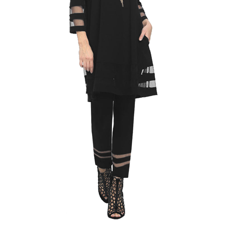 IC Collection Soft Knit Pant with Double Mesh Stripe in Black - 2536P-BLK