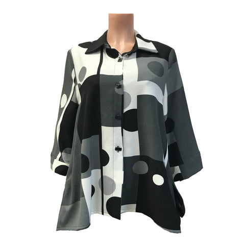 "Moonlight ""Circles & Stripes"" Print Shirt in Black/Grey - 2559-BLK"