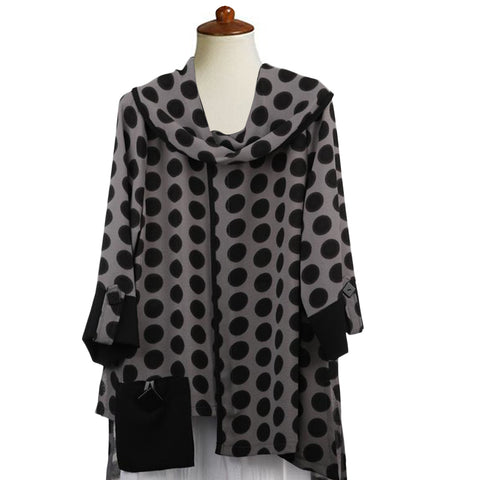 Moonlight Polka Dot Cowl Neck Tunic in Grey/Black - 2560-CL - Sizes S & M Only