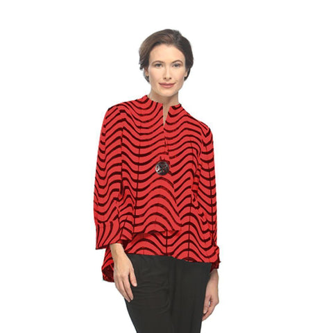 "IC Collection ""Red Waves"" Jacket - 2596J-RED"