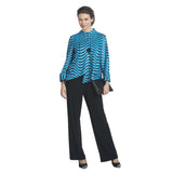 IC Collection Asymmetric Faux Leather Jacket in Turquoise - 2596J-BLU-S & XL