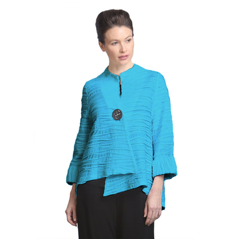 IC Collection High-Low Asymmetric Jacket in Turquoise - 2643J-TUR